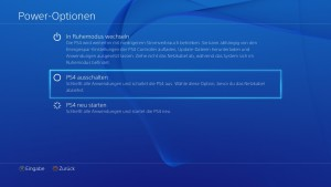 Playstation 4 Power Optionen