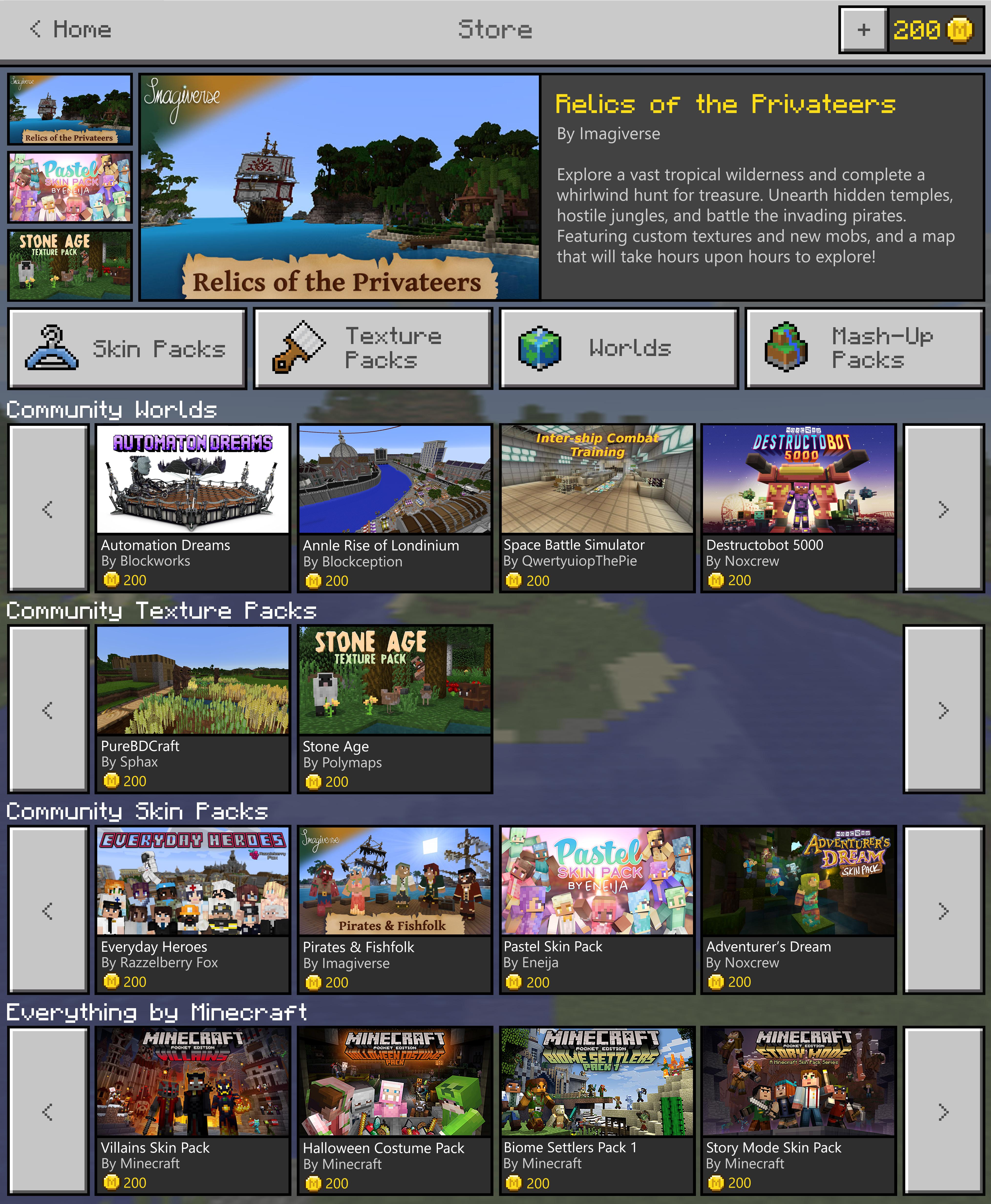 Der Minecraft Market Place steht vor der Tür
